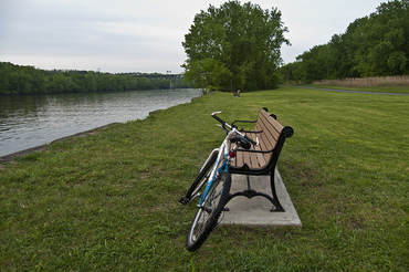 Pic, Bike parked on the off-road portion of the Mohawk Hudson Bike Hike Trail Watervliet Bicycle Master Plan